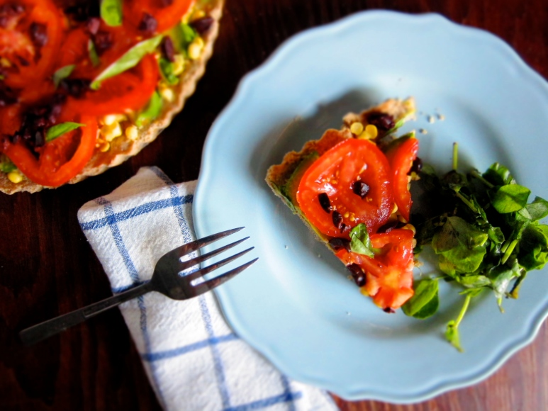 tomato + avocado tart with parmesan crust   Top of the Apple