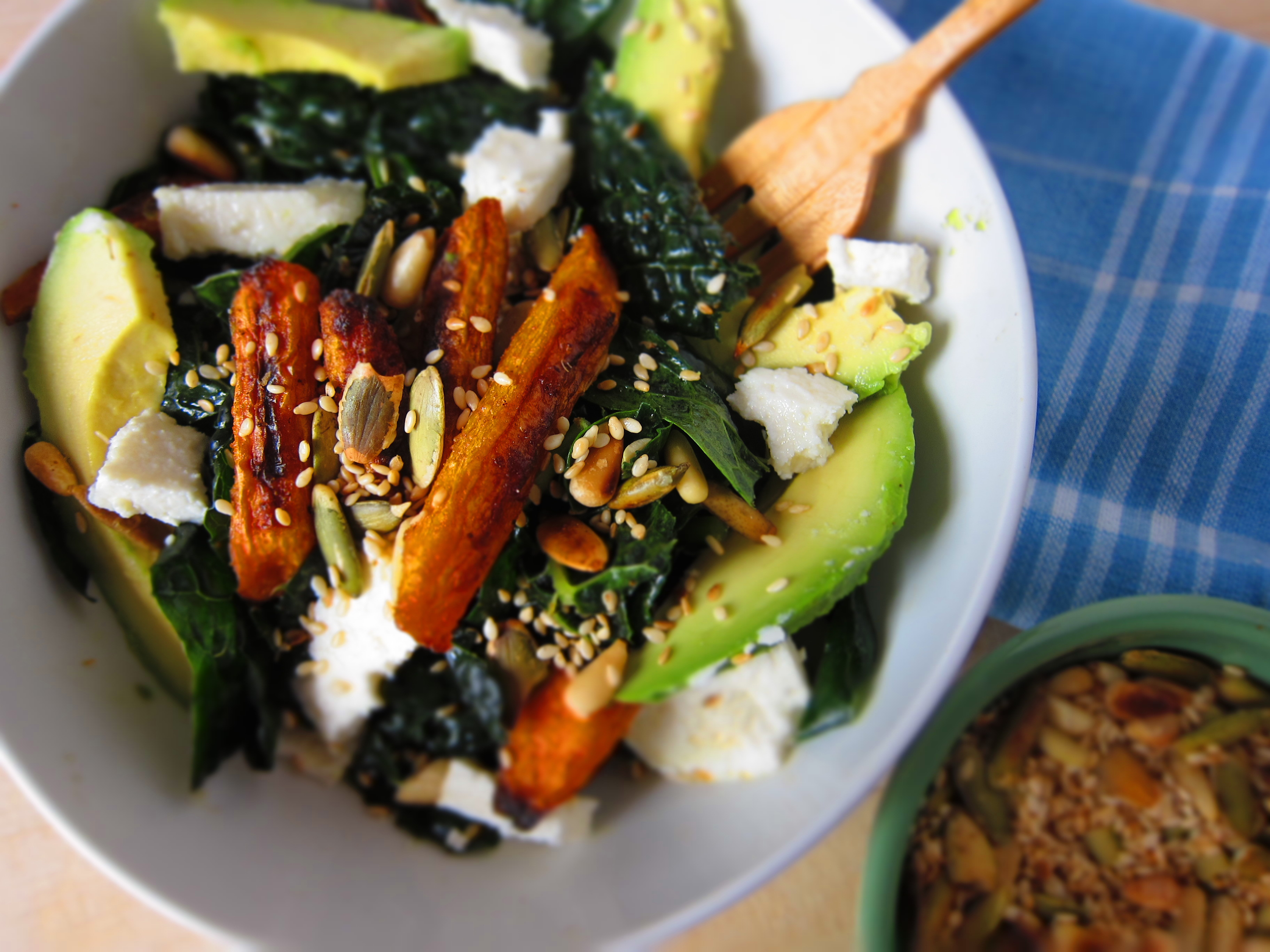 Carrot And Avocado Salad With Crunchy Seeds Recipe — Dishmaps
